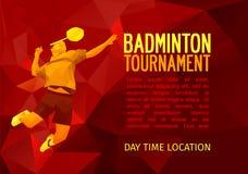 Polygonal badminton player, sports poster Stock Photo