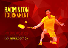 Polygonal badminton player, sports poster Stock Photos
