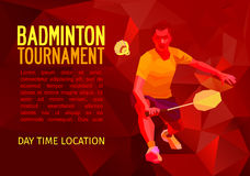 Polygonal badminton player, sports poster Stock Photography