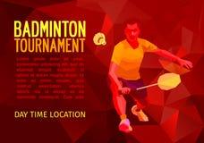 Polygonal badminton player, sports poster Stock Photography