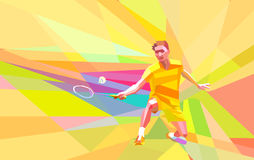 Polygonal badminton player on yellow low poly background Stock Photos