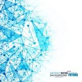 Polygonal bakgrund för abstrakt blått wireframeingrepp Arkivfoton