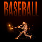 Polygonal baseball player. Abstract line baseball player in motion. Silhouette of a man made of lines and points. Polygonal background baseball competitions Stock Photo