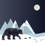 Polygonal bear. On ice mountain. Vector illustration Stock Photography