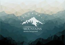 Polygonal bergbakgrund med logo på mitt Arkivbild