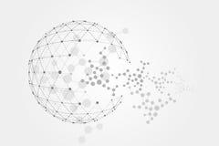 Polygonal beståndsdel för Wireframe ingrepp Sfär med förbindelselinjer och prickar Fotografering för Bildbyråer