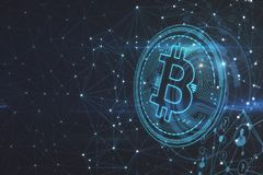 Polygonal bitcoin backdrop. Glowing polygonal bitcoin backdrop. Cryptocurrency and finance concept. 3D Rendering royalty free stock photo