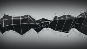 Polygonal black contruction. Abstract 3D render Royalty Free Stock Images