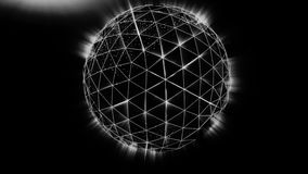 Polygonal black sphere with white edges and light background. Abstract Black plexus Geometric, Polygonal or Lowpoly vector illustration