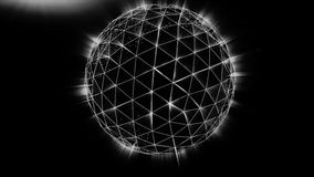Polygonal black sphere with white edges and light background. Abstract Black plexus Geometric, Polygonal or Lowpoly. Style Sphere made From a lines and dots or royalty free illustration