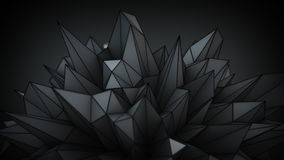 Polygonal black surface in studio abstract 3D render. Polygonal black surface in studio. Abstract futuristic sci-fi 3D render Royalty Free Stock Photography