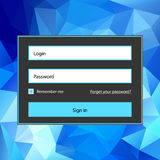 Polygonal blue login form. Simple abstract vector polygonal blue login form. With glow and sign in button Stock Image