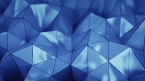 Polygonal blue plastic shape 3D rendering with DOF Royalty Free Stock Photos