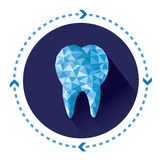 Polygonal blue vector tooth icon with long shadow effect Stock Image