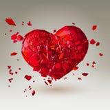 Polygonal bruten hjärta 3D på låg poly bakgrund Royaltyfria Bilder