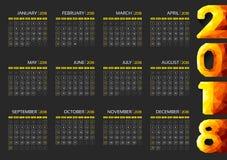 Polygonal 2018 calendar template design -Week starts from Sunday. Polygonal 2018 calendar template design on black background -Week starts from Sunday.Vector Stock Photography