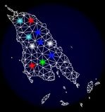 Polygonal Carcass Mesh Map of Koh Chang with Colorful Light Spots. Mesh vector map of Koh Chang with glare effect on a dark background. Abstract lines, triangles vector illustration