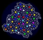 Polygonal Carcass Mesh Map of Lodz Province with Colorful Light Spots. Mesh vector map of Lodz Province with glare effect on a dark background. Abstract lines stock illustration