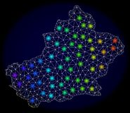 Polygonal Carcass Mesh Map of Xinjiang Uyghur Region with Bright Light Spots. Mesh vector map of Xinjiang Uyghur Region with glare effect on a dark background vector illustration