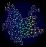 Polygonal Carcass Mesh Map of Yunnan Province with Colorful Light Spots. Mesh vector map of Yunnan Province with glare effect on a dark background. Light spots stock illustration