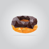 Polygonal chocolate donut illustration Royalty Free Stock Photo
