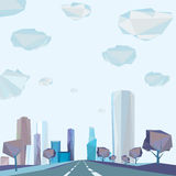 01 Polygonal city road. The illustration of vector polygonal cityscape with highway Stock Photos