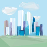 02 Polygonal cityscape. Vector illustration of beautiful modern polygonal cityscape with skyscrapers Royalty Free Stock Photos
