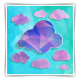 Polygonal clouds on the Abstract Blue Triangular backgrou Royalty Free Stock Photo