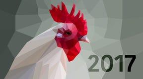 Polygonal cock head on grey background Stock Photos