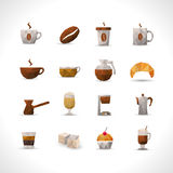 Polygonal Coffee Icons Set Royalty Free Stock Images