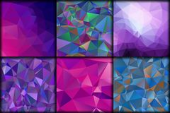 Polygonal collection violet geometric backgrounds. stock illustration