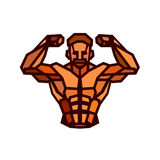 Polygonal colored vector bodybuilder logo royalty free illustration