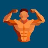 Polygonal colored vector bodybuilder logo Royalty Free Stock Photos