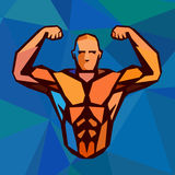 Polygonal colored vector bodybuilder logo. Sportsman shows his biceps. Fitness gym label Stock Images