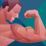 Polygonal colored vector bodybuilder logo Royalty Free Stock Images