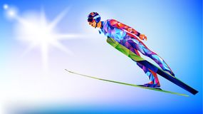 The polygonal colorful figure of Ski Jumping with on a white and blue background. The polygonal colorful figure of a young man Ski Jumping with on a white and Stock Photos