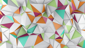 Polygonal colorful surface 3D render. Polygonal chaotic colorful surface. Abstract geometric trendy background. 3D render illustration Stock Image
