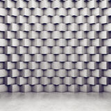 Polygonal concrete wall and glossy concrete floor Stock Photo