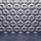 Polygonal concrete wall and glossy concrete floor. 3D rendering Stock Photos
