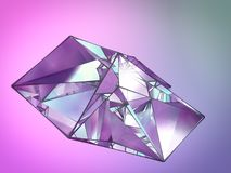 Polygonal crystal on colored backdrop. Abstract background for your design. 3d rendering. Polygonal shiny crystal on colored backdrop. Abstract background for stock illustration