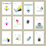 Polygonal Crystals Mini Banners Collection. Polygonal crystals geometric shapes and structure schematic images symbols on white paper sheet banners set isolated Royalty Free Stock Images