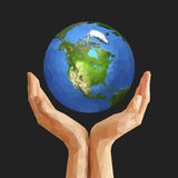 Polygonal cupped hands that hold polygon planet earth america bl Stock Images