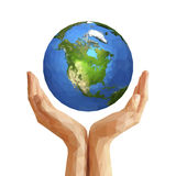 Polygonal cupped hands that hold polygon planet earth america wh Royalty Free Stock Images