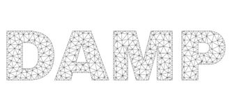 Polygonal 2D DAMP Text Caption. Mesh vector DAMP text label. Abstract lines and circle dots are organized into DAMP black carcass symbols. Wire carcass flat royalty free illustration