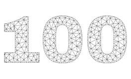 Polygonal 2D etikett för 100 text royaltyfri illustrationer