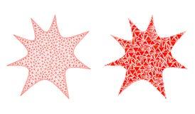 Polygonal 2D Mesh Boom Splash and Mosaic Icon vector illustration