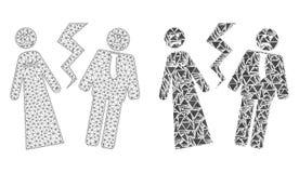 Polygonal 2D Mesh Broken Wedding och mosaisk symbol vektor illustrationer
