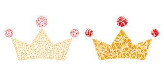 Polygonal 2D Mesh Crown och mosaisk symbol royaltyfri illustrationer