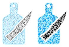 Polygonal 2D Mesh Cutting Board och kniv- och mosaiksymbol royaltyfri illustrationer