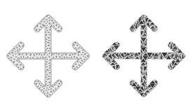 Polygonal 2D Mesh Expand Arrows och mosaisk symbol vektor illustrationer